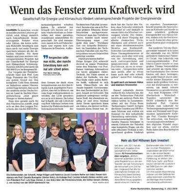 Pressemitteilung Kieler Nachrichten vom 05.07.2018